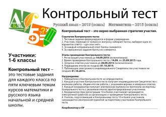 Контрольный тест Математика Русский язык